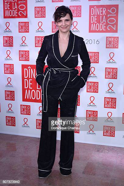 Juliette Binoche attends the Sidaction Gala Dinner 2016 as part of Paris Fashion Week on January 28 2016 in Paris France