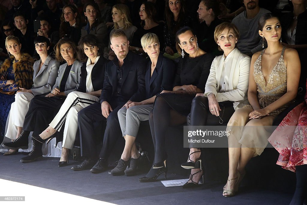 Juliette Binoche, Ben Foster, Robin Wright, Roberta Armani, Kristin Scott Thomas and Sonam Kapoor attend the Giorgio Armani Prive show as part of Paris Fashion Week Haute-Couture Spring/Summer 2015 on January 27, 2015 in Paris, France.