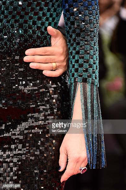 Juliette Binoche detail attends a premiere for 'The Wait' during the 72nd Venice Film Festival at Palazzo del Casino on September 5 2015 in Venice...