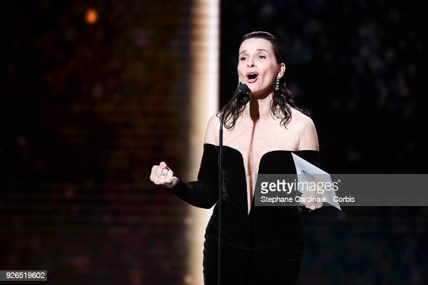 Juliette Binoche during the ceremony of the Cesar Film Awards 2018 at Salle Pleyel on March 2 2018 in Paris France