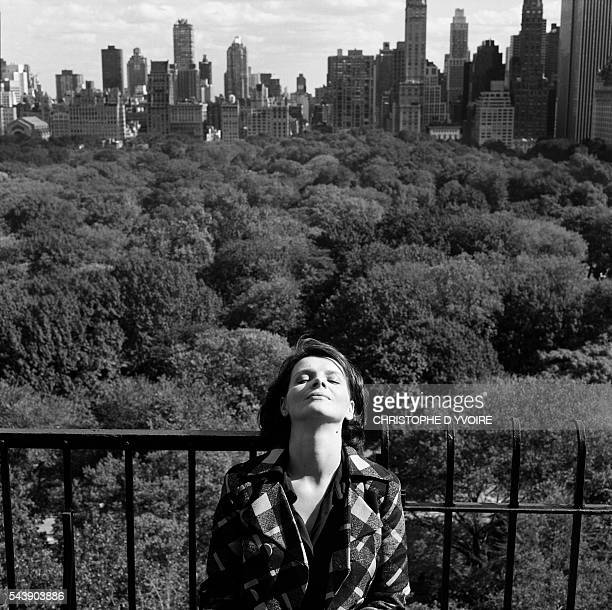 Juliette Binoche in New York city for the play Betrayal at the Roundabout Theater