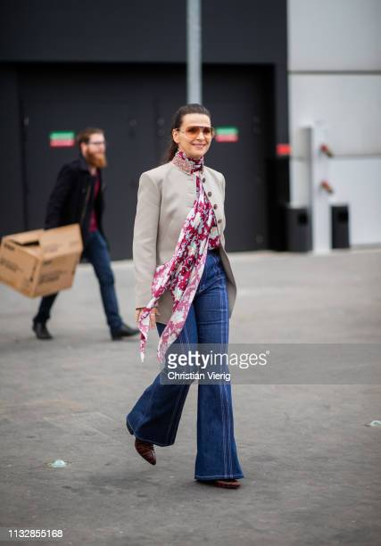 Juliette Binoche is seen outside Chloe during Paris Fashion Week Womenswear Fall/Winter 2019/2020 on February 28, 2019 in Paris, France.