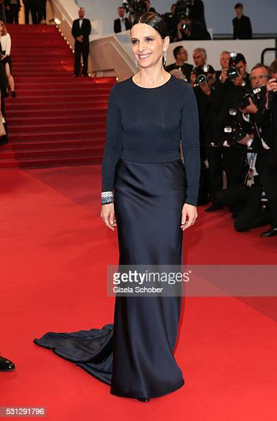 Juliette Binoche leaves the Slack Bay premiere during the 69th annual Cannes Film Festival at the Palais des Festivals on May 13 2016 in Cannes France