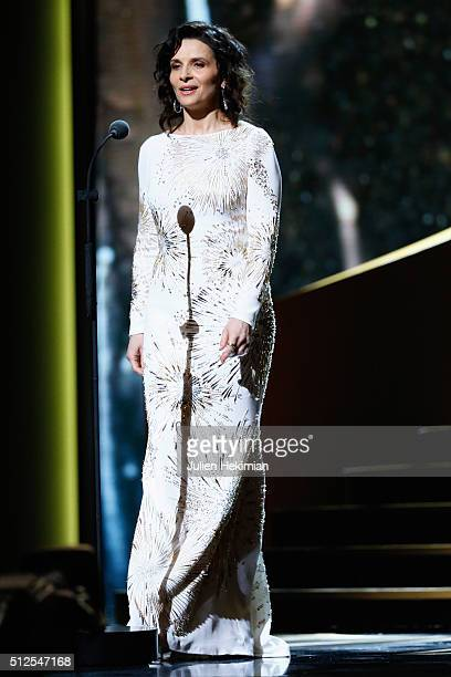 Juliette Binoche poses on stage during The Cesar Film Award 2016 at Theatre du Chatelet on February 26 2016 in Paris France