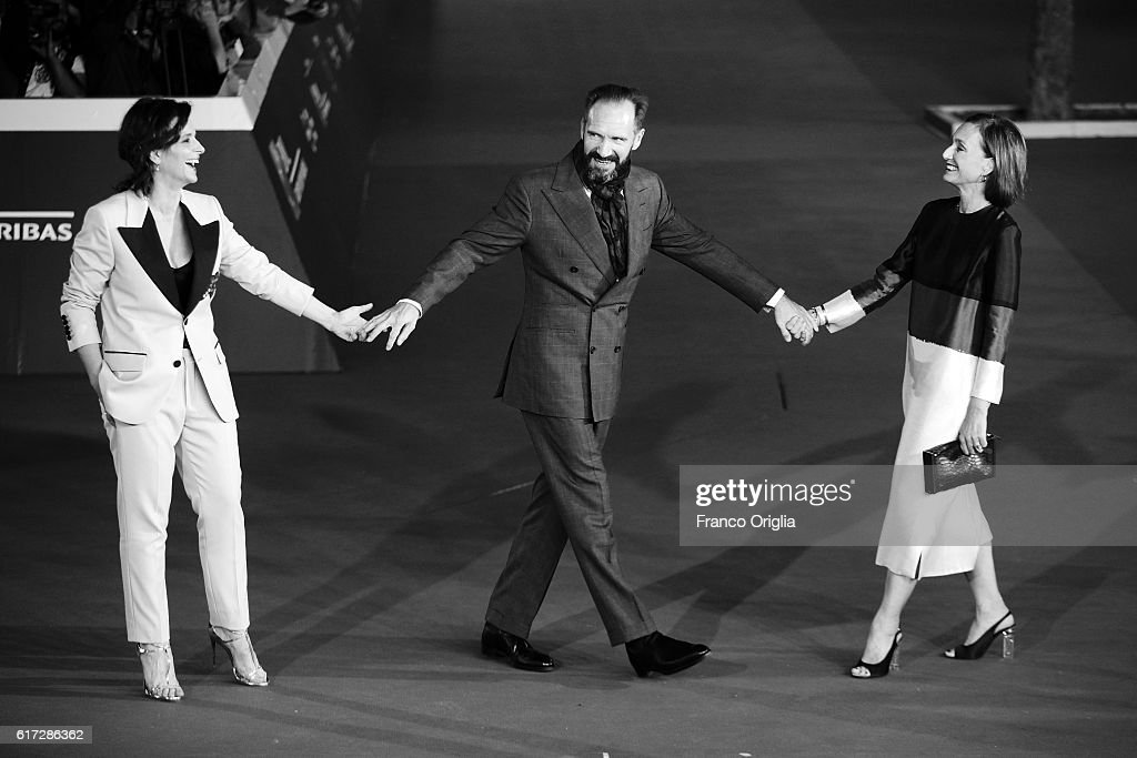 Juliette Binoche, Ralph Fiennes and Kristin Scott Thomas walk a red carpet for 'The English Patient - Il Paziente Inglese' during the 11th Rome Film Festival at Auditorium Parco Della Musica on October 22, 2016 in Rome, Italy.