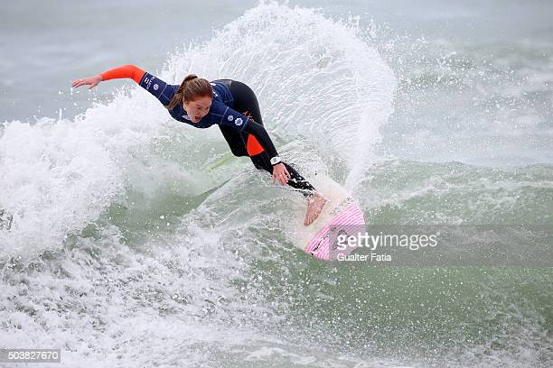Juliette Brice of France in action during heat 2 of round 4 of the Women's Ericeira World Junior Championships 2016 of Surfing at Praia dos...