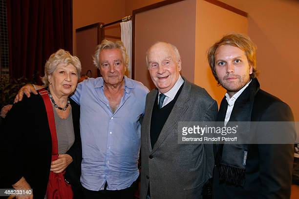 Juliette Carre Actor of the Piece Pierre Arditi Michel Bouquet and Autor of the Piece Florian Zeller attend 'Le Mensonge' Theater Play Held at...