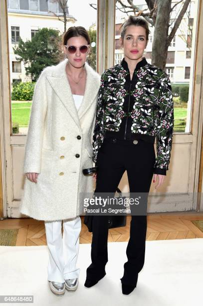 Juliette Dol and Charlotte Casiraghi attend the Giambattista Valli show as part of the Paris Fashion Week Womenswear Fall/Winter 2017/2018 on March 6...