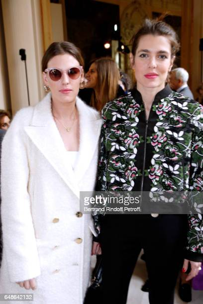 Juliette Dol Maillot and Charlotte Casiraghi attend the Giambattista Valli show as part of the Paris Fashion Week Womenswear Fall/Winter 2017/2018 on...