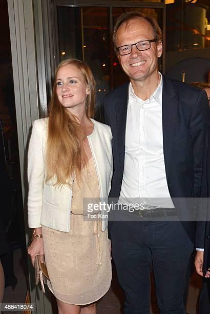Juliette Gernez and Unilever France President Bauke Rouwers attend the 'Diner Sensoriel' hosted by Maille at Jardin du Pont Neuf on September 15 2015...
