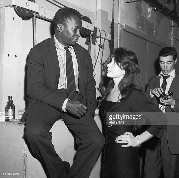 Juliette Greco and Miles Davis at the club Saint Germain In Paris France In 1958
