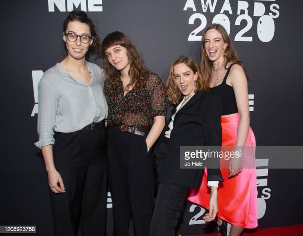 Juliette Jackson Celia Archer Fern Ford Soph Nathann of The Big Moon attend the NME Awards 2020 at O2 Academy Brixton on February 12 2020 in London...