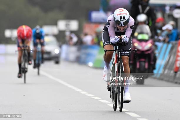 Juliette Labous rides during the French Elite time trial championship between Locmine and Grand Champ , western France, on August 21, 2020 as she...