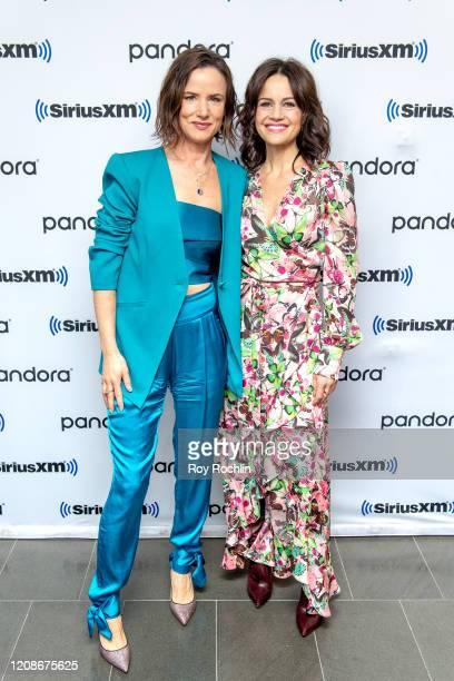 Juliette Lewis and Carla Gugino visit SiriusXM Studios on February 25 2020 in New York City