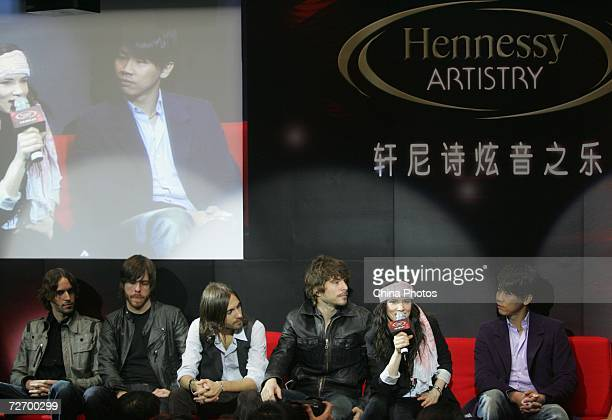 Juliette Lewis and her band Juliette The Licks and Taiwan singer David Zee Tao attend a press conference of the Hennessey Global Artistry Tour on...