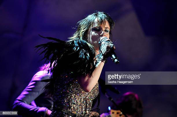 Juliette Lewis and the New Romantiques perform at the DirecTV Live showcase during SXSW at the Bat Bar in the Austin Convention Center on March 20...