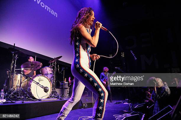 Juliette Lewis of Juliette and The Licks performs live during the 2016 Tribeca Film Festival Shorts 'Hard Lovin' Woman' premiere at Spring Studios on...