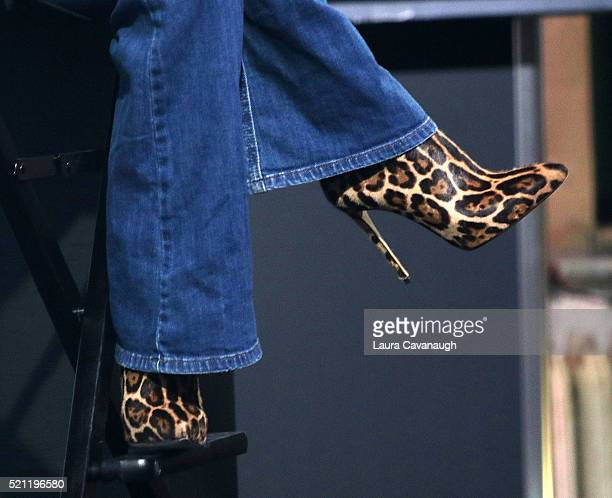 Juliette Lewis shoe detail attends AOL Build Speaker Series to discuss 'Hard Lovin' Woman' at AOL Studios In New York on April 14 2016 in New York...