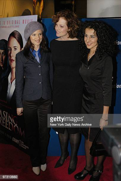 Juliette Lewis Sigourney Weaver and Layla Alizada are at the Loews Cineplex Lincoln Square for the premiere of Court TV's movie Chasing Freedom Lewis...
