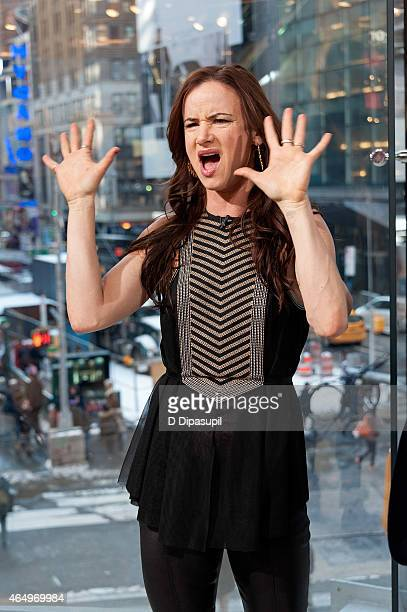 """Juliette Lewis visits """"Extra"""" at their New York studios at H&M in Times Square on March 2, 2015 in New York City."""
