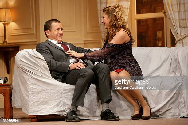 """Juliette Meyniac and Dany Boon on stage during the spinning of the play """"Le Diner de Cons,"""" in Paris."""