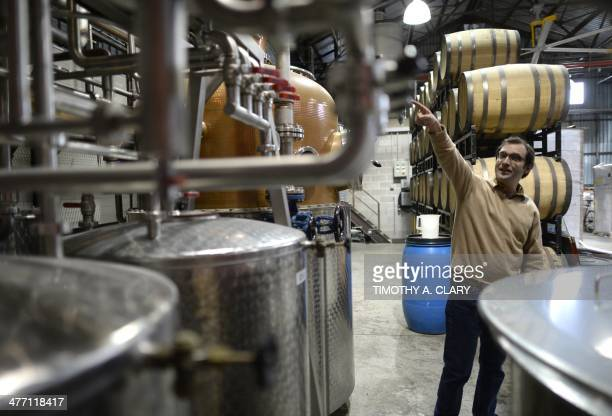 Juliette MICHEL Cofounder Allen Katz at the New York Distilling Company February 25 2014 in the borough of Brooklyn in a former rag factory in the...