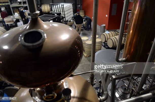 Juliette MICHEL Vats at the New York Distilling Company February 25 2014 are viewed in the borough of Brooklyn in a former rag factory in the...