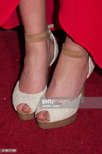 Juliette Monaco shoe detail arrives at the opening night premiere of the Beverly Hills Film Festival featuring 'The Lennon Report' and 'Baby Baby...