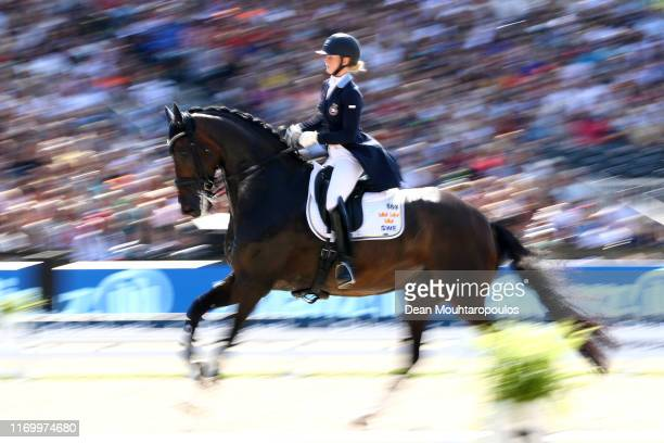 Juliette Ramel of Sweden riding Buriel K.H. Competes during Day 6 of the Grand Prix Freestyle, Longines FEI Dressage European Championship presented...
