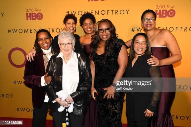 "Juliette Robinson, Linda Sharp, Cheryl Miller, Pam McGee, Cynthia Cooper, Rhonda Windham, and Paula McGee attend the Los Angeles premiere of ""Women..."
