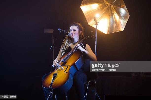 Juliette Saumagne from LEJ performs at L'Olympia on November 21 2015 in Paris France