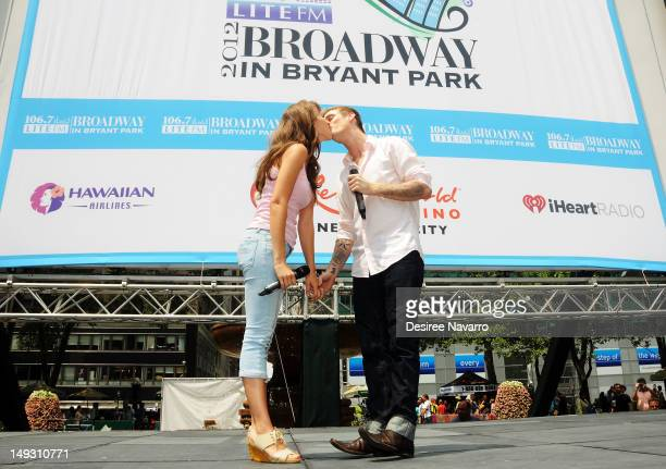Juliette Trafton and singer Aaron Carter from the cast of the Fantasticks perform at 1067 Lite FM's Broadway in Bryant Park on July 26 2012 in New...