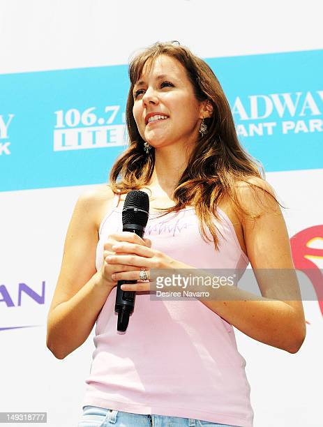 Juliette Trafton from the cast of the Fantasticks performs at 1067 Lite FM's Broadway in Bryant Park on July 26 2012 in New York City