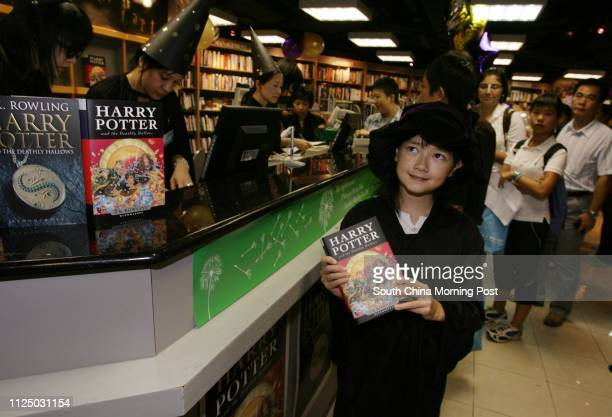 Juliette Van Ratingen dress as Hermione Granger to buy Harry Potter 7 at Kelly and Walsh Ltd. In Exchange Square, Central. 21 July 2007