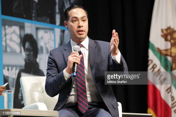Julián Castro speaks onstage at the MoveOn Big Ideas Forum at The Warfield Theatre on June 01 2019 in San Francisco California