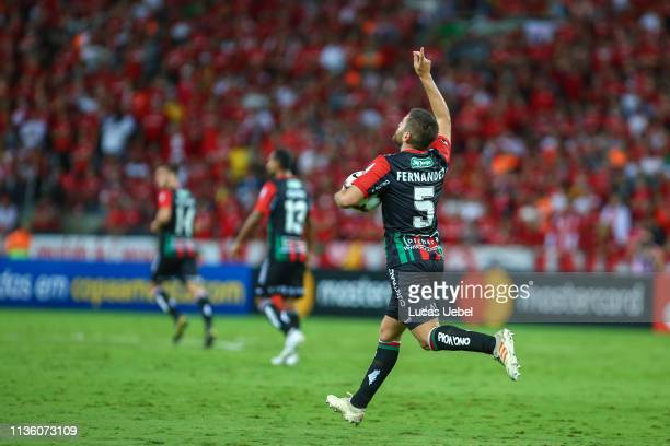 Julián Fernández of Palestino celebrates their first goal during the match between Internacional v Palestino as part of Copa CONMEBOL Libertadores...