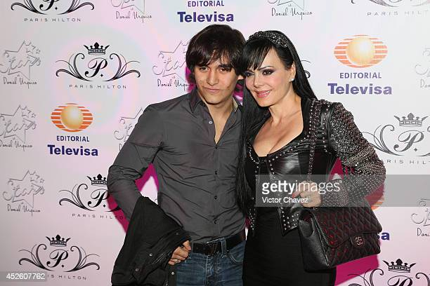 Julián Figueroa and his mother Maribel Guardia attend the Stars the extensions Experts Salon 15th anniversary at Foro Masaryk on July 23 2014 in...