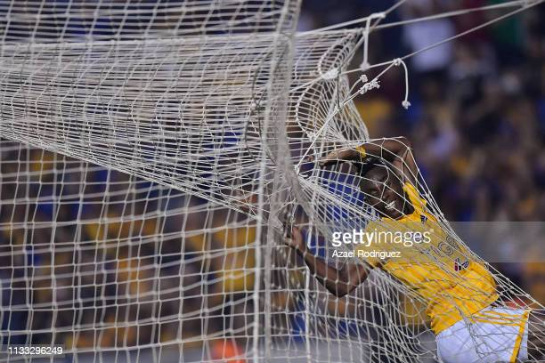 Julián Quiñones of Tigres jumps inside the net during the 9th round match between Tigres UANL and Pachuca as part of the Torneo Clausura 2019 Liga MX...