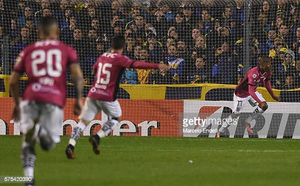Julio Angulo of Independiente del Valle celebrates after scoring the third goal of his team during a second leg match between Boca Juniors and...