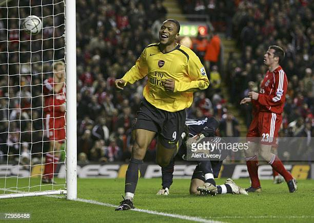 Julio Baptista of Arsenal celebrates scoring his fourth goal and his team's sixth during the Carling Cup quarter final match between Liverpool and...