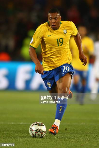 Julio Baptista of Brazil runs with the ball during the FIFA Confederations Cup match between USA and Brasil at Loftus Versfeld Stadium on June 18...