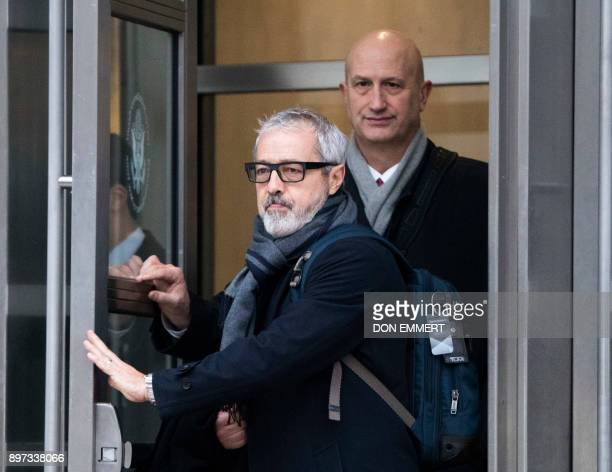 Julio Barbosa and Jim Mitchell attorneys for Jose Maria Marin of Brazil one of three defendants in the FIFA scandal depart the Federal Courthouse in...