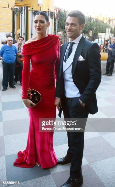 Julio Benitez and Isabel Jimenez attend Yeyes Manzanares and Guillaume Cazelle's wedding at Basilica de La Macarena on November 11 2017 in Seville...