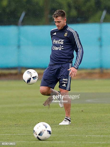 Julio Buffarini of Argentina controls the ball during a training session at Argentine Football Association 'Julio Humberto Grondona' training camp on...