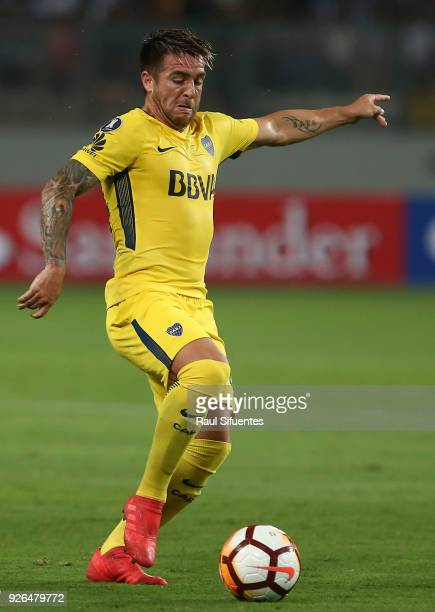 Julio Buffarini of Boca Juniors drives the ball during a groups stage match between Alianza Lima and Boca Juniors as part of Copa Conmebol...