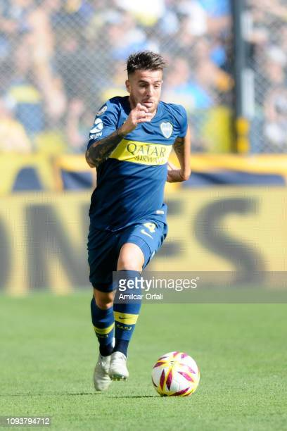 Julio Buffarini of Boca Juniors drives the ball during a match between Boca Juniors and Godoy Cruz as part of Superliga 2018/19 at Estadio Alberto J...