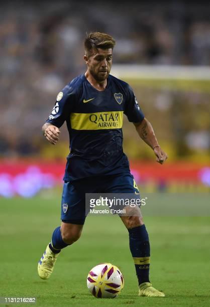 Julio Buffarini of Boca Juniors drives the ball during a match between Boca Juniors and Atletico Tucuman as part of Superliga 2018/19 at Estadio...