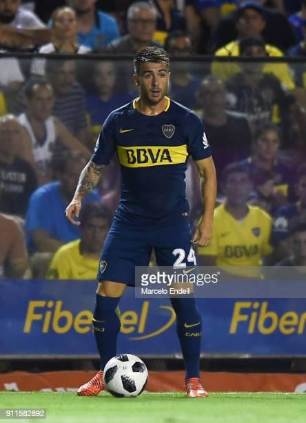 Julio Buffarini of Boca Juniors drives the ball during a match between Boca Juniors and Colon as part of the Superliga 2017/18 at Alberto J Armando...