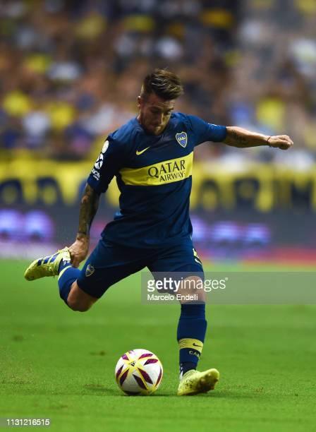 Julio Buffarini of Boca Juniors kicks the ball during a match between Boca Juniors and Atletico Tucuman as part of Superliga 2018/19 at Estadio...