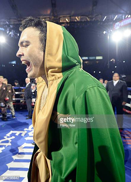 Julio Cesar Chavez Jr before his fight against Andrzej Fonfara during the WBC light heavyweight title fight at StubHub Center on April 18 2015 in Los...